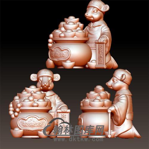 老鼠聚宝盆立体圆雕图(YS-001)
