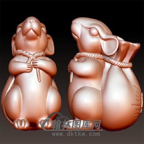 老鼠背钱袋立体圆雕图(YS-003)