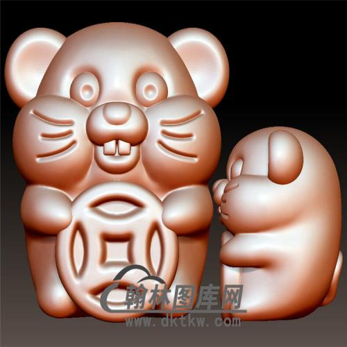 数钱老鼠立体圆雕图(YS-011)