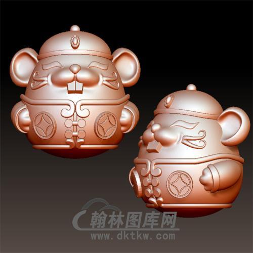 铜钱招财鼠立体圆雕图(YS-012)