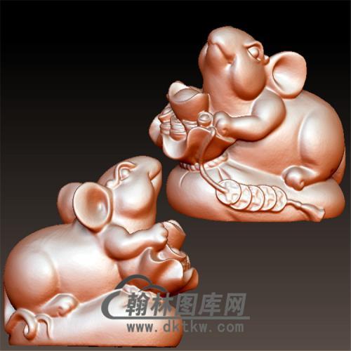 鼠元宝铜钱立体圆雕图(YS-013)