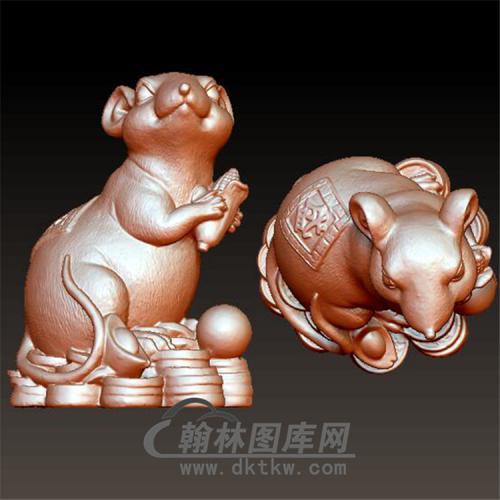 鼠玉米元宝立体圆雕图(YS-017)