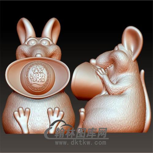 招财鼠钱罐摆件立体圆雕图(YS-019)