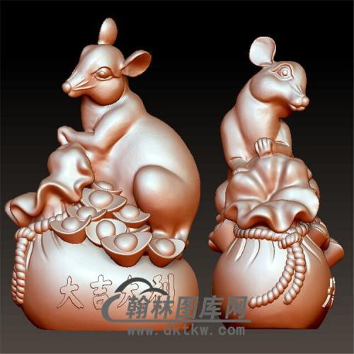 老鼠元宝摆件立体圆雕图(YS-020)