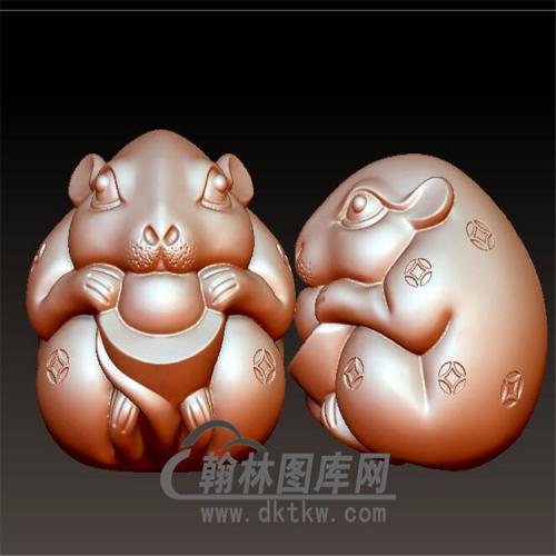 元宝招财鼠立体圆雕图(YS-025)