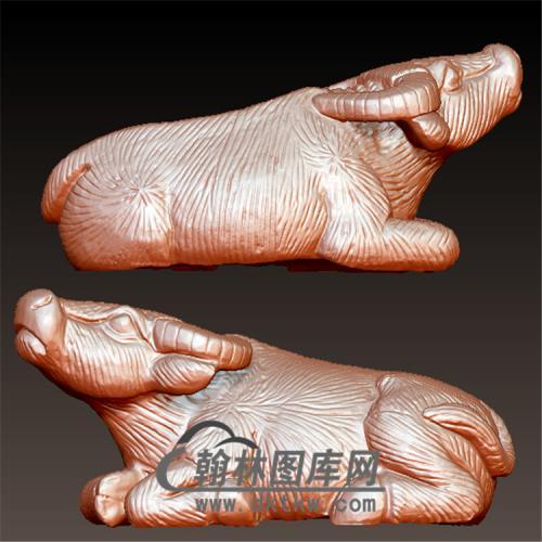 卧牛水牛牛摆件立体圆雕图(YN-004)
