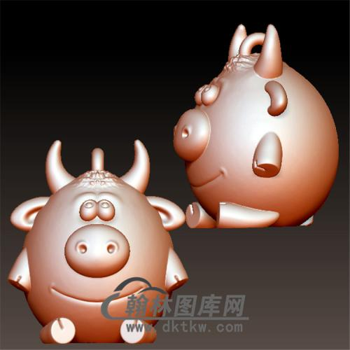 卡通牛挂件立体圆雕图(YN-012)