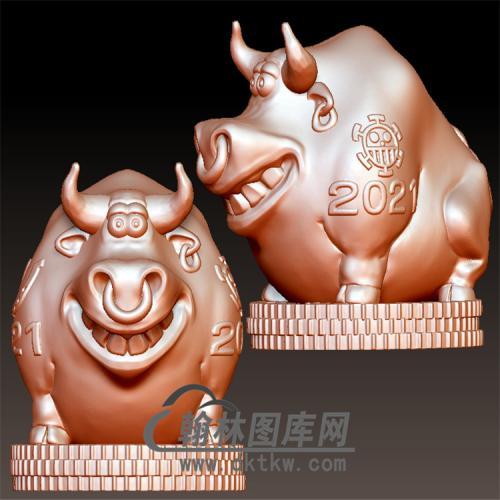 卡通牛摆件立体圆雕图(YN-015)