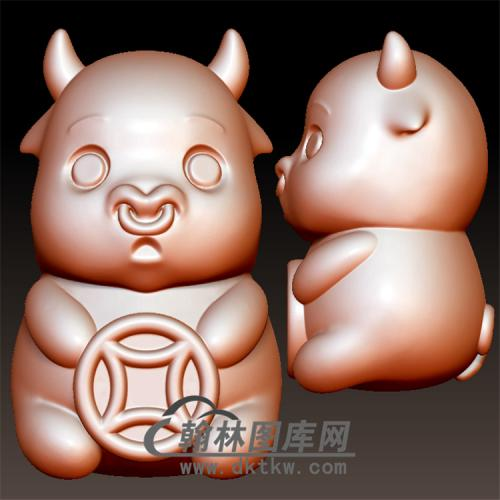 卡通铜钱牛立体圆雕图(YN-033)
