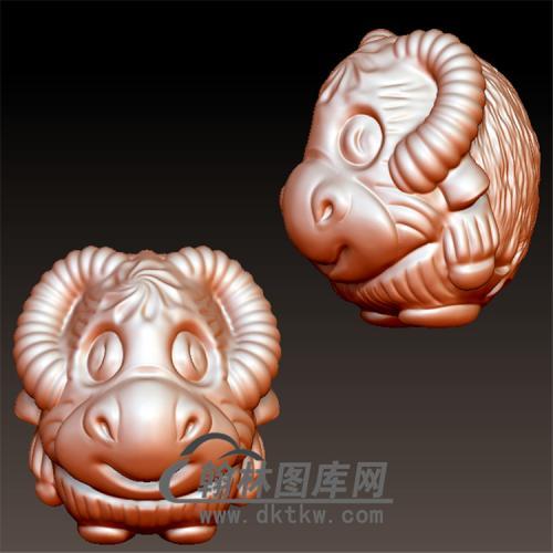 卡通牛圆立体圆雕图(YN-039)
