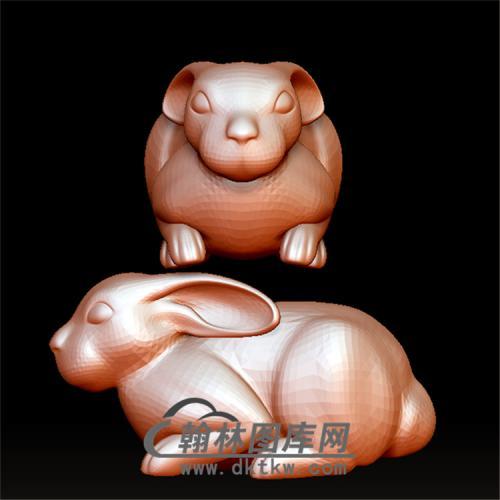 趴着的兔子立体圆雕图(YT-018)