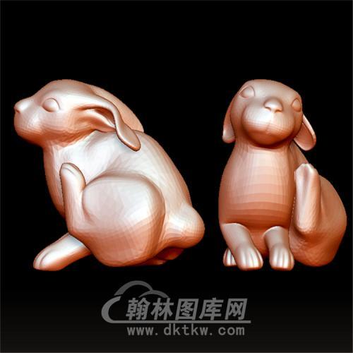 扭头抬腿着的兔子立体圆雕图(YT-019)