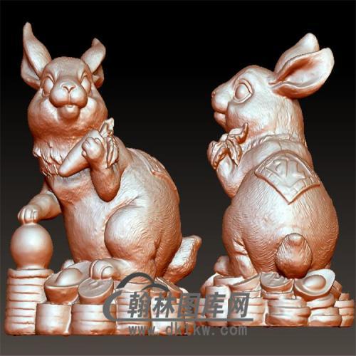 招财兔子立体圆雕图(YT-024)