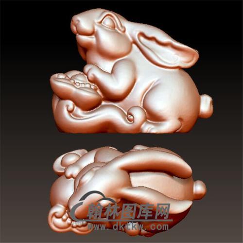如意兔子摆件立体圆雕图(YT-026)