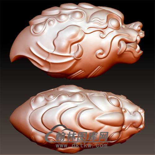 石己鱼化龙龙头兽头立体圆雕图(YL-008)