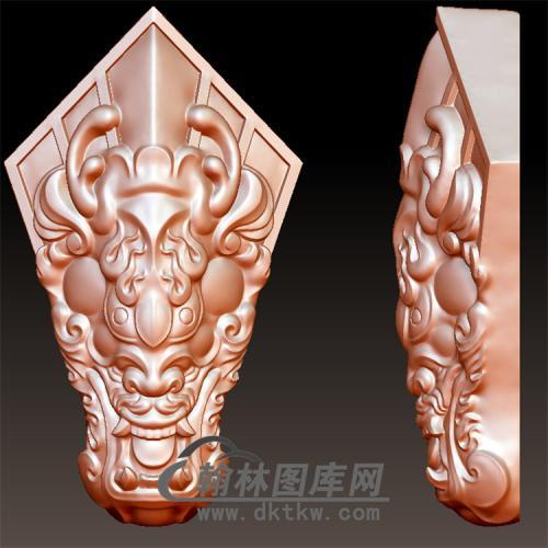 玉雕龙头令立体圆雕图(YL-035)