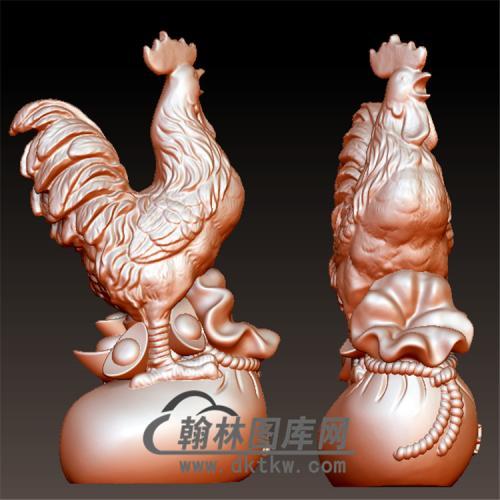 公鸡摆件立体圆雕图(YJ-002)
