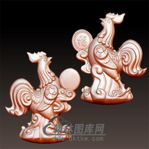 发财鸡修立体圆雕图(YJ-009)