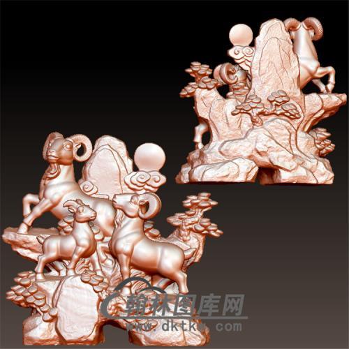 三羊开泰立体圆雕图(YY-007)