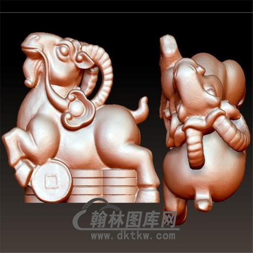 生肖羊摆件立体圆雕图(YY-009)