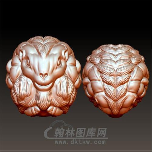 羊头圆珠手串立体圆雕图(YY-011)