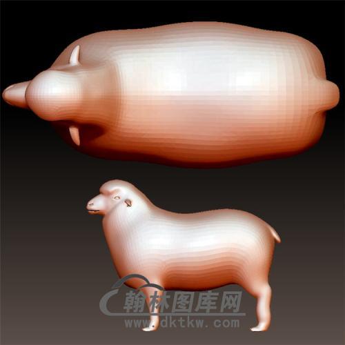 绵羊立体圆雕图(YY-012)