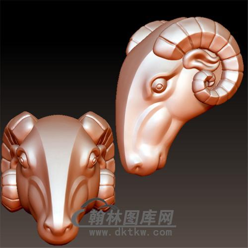 羊头立体圆雕图(YY-014)