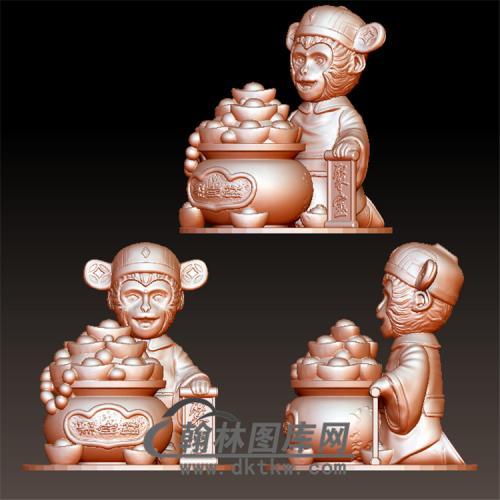金猴聚宝立体圆雕图(YH-002)