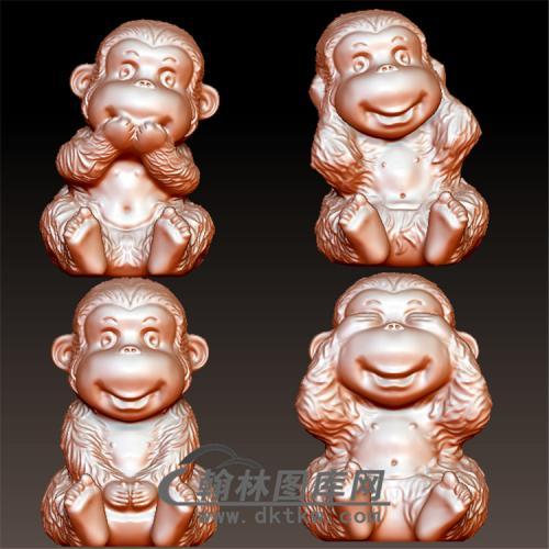 四不猴立体圆雕图(YH-006)