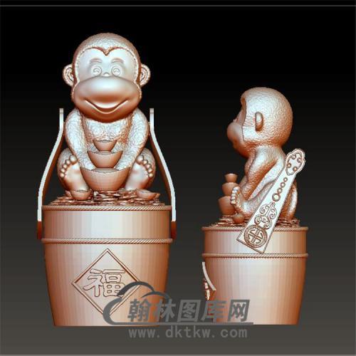 送财猴子摆件立体圆雕图(YH-007)