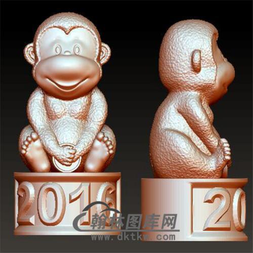 猴猴子立体圆雕图(YH-012)