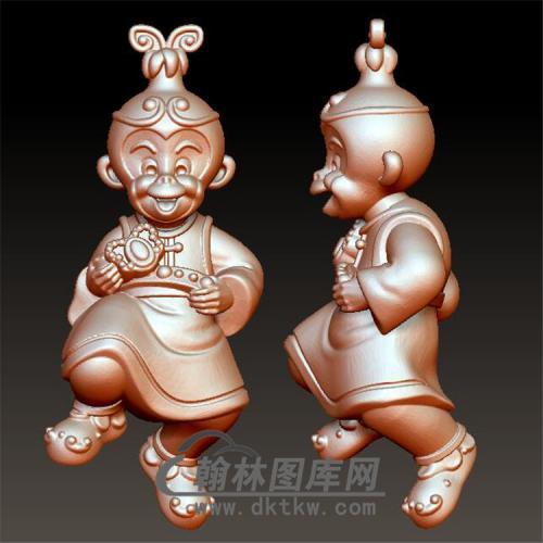 吉祥猴子立体圆雕图(YH-013)