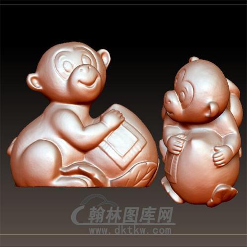 猴子摆件立体圆雕图(YH-014)