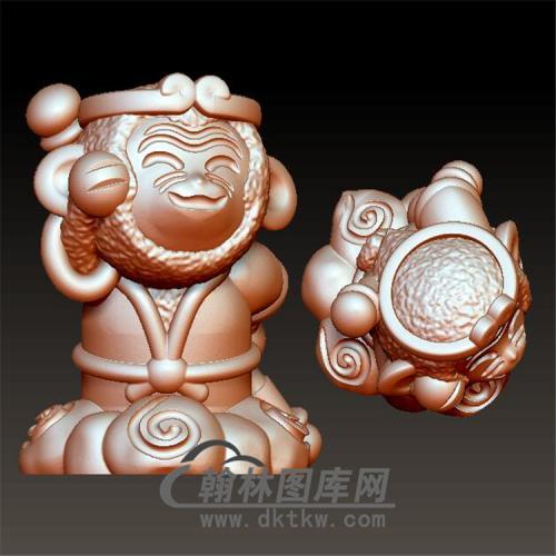 卡通孙悟空猴立体圆雕图(YH-018)