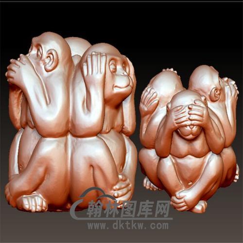 三不猴立体圆雕图(YH-020)