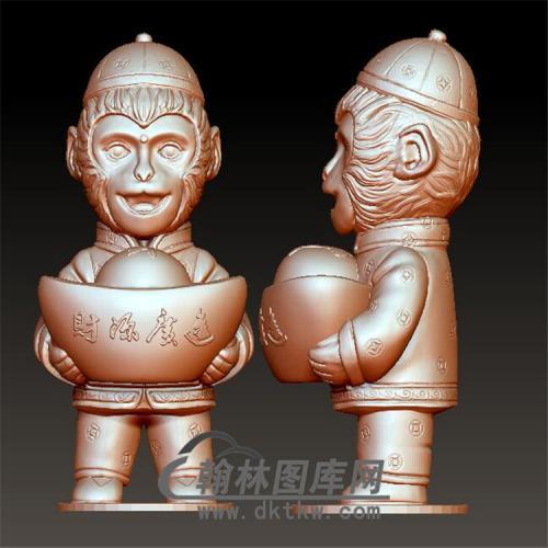金猴送宝立体圆雕图(YH-021)