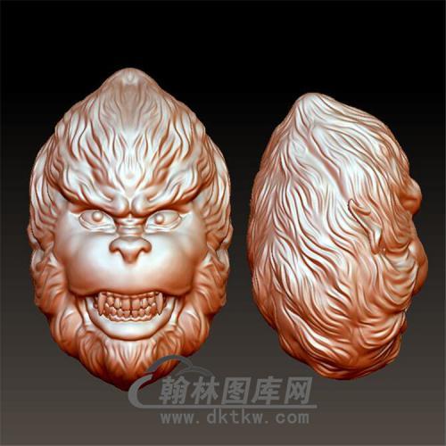 齐天大圣猴头立体圆雕图(YH-024)