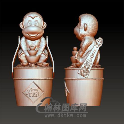 送财猴子摆件立体圆雕图(YH-025)