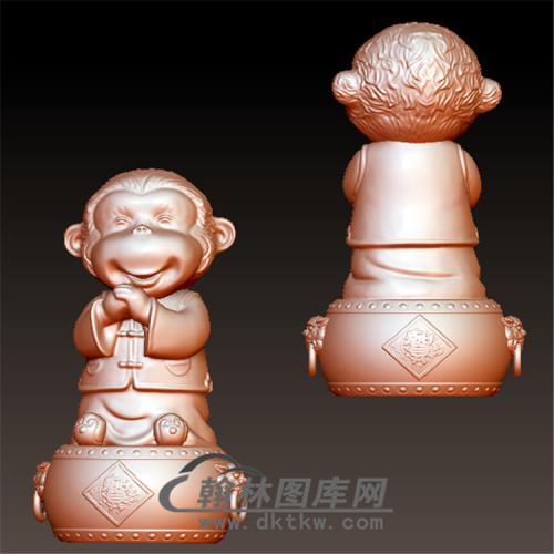 猴恭喜发财立体圆雕图(YH-028)