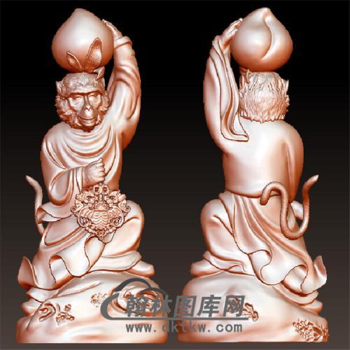 猴之福寿双全立体圆雕图(YH-030)