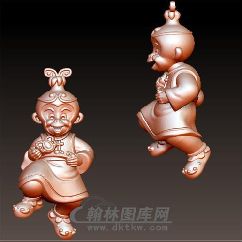 吉祥猴子立体圆雕图(YH-033)
