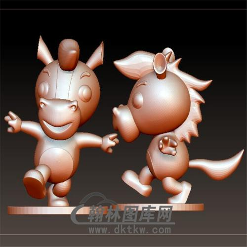 卡通生肖马摆件立体圆雕图(YM-033)
