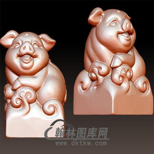 猪摆件立体圆雕图(YZ-013)