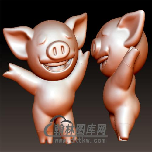 可爱小猪立体圆雕图(YZ-026)