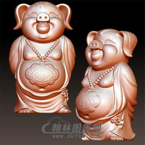 长命锁猪摆件立体圆雕图(YZ-029)