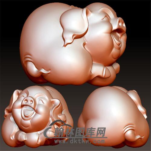 小猪手把件立体圆雕图(YZ-030)