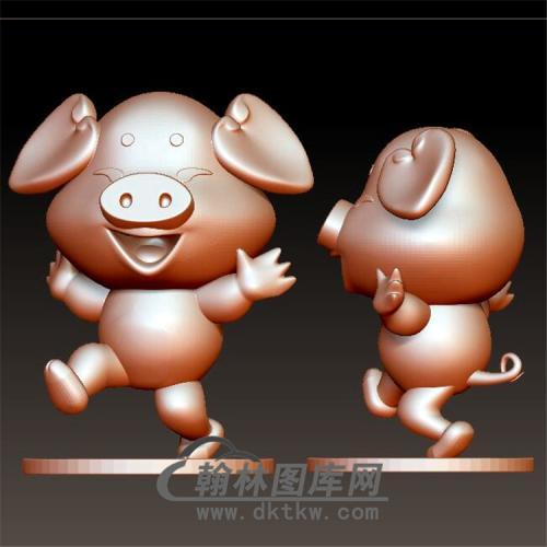 卡通生肖猪立体圆雕图(YZ-043)