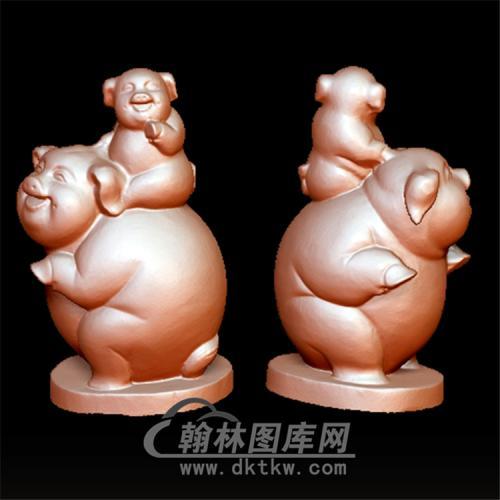 大猪小猪立体圆雕图(YZ-046)