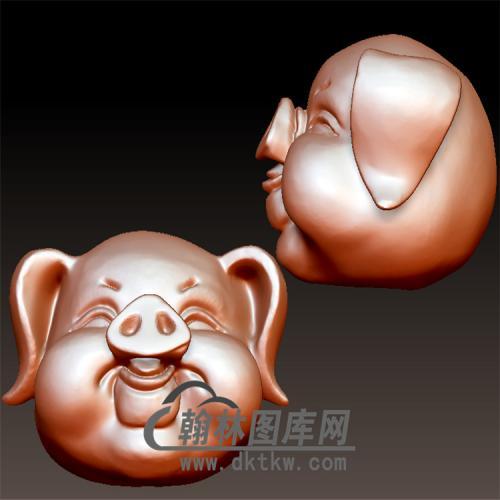 财猪三通分体猪头立体圆雕图(YZ-048)