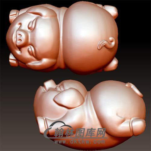 倒立猪立体圆雕图(YZ-050)